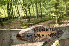 Wild stuk tuin waarin  wilde zwijnen, vossen, dassen, boommarters, reeën en herten voorkomen